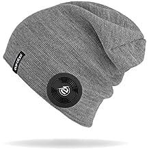 """Earebel Beanie Slim in Grau - Bekannt aus """"Die Höhle der Löwen"""" - kabellose Übertragung über Bluetooth - ( Mit integriertem, kabellosen Blutooth Kopfhörern und integriertem Mikrofon zum Telefonieren )"""