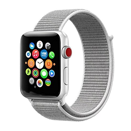 MMOBIEL Uhrenarmband 42 mm (Muschel) Super Slim Fein gewobenes verstellbares Nylon Sport Ersatz Band für Apple Watch Alle Serien