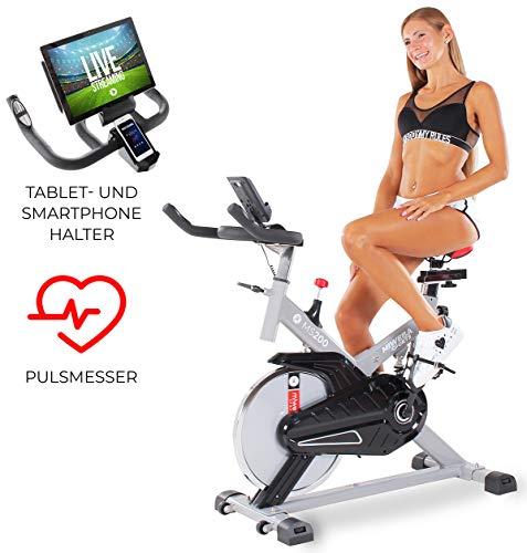 Miweba Sports Indoor Cycling MS200 Fitnessbike - 13 Kg Schwungmasse - Stufenfreie Widerstandsverstellung - Stoßdämpfer - Tablethalter (Silber)