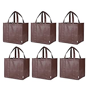 Augbunny Reusable Heavy Duty Extra Large Grocery Shopping Tote Bags 6-pack