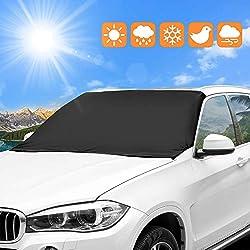 omitium Couverture Pare-Brise Voiture Bache Pare Brise de Voiture Protection magnétique Pare-soleils Avant Auto pour Anti-Neige, Givre, UV pour SUV La Plupart des Véhicules - 210 x 120 cm