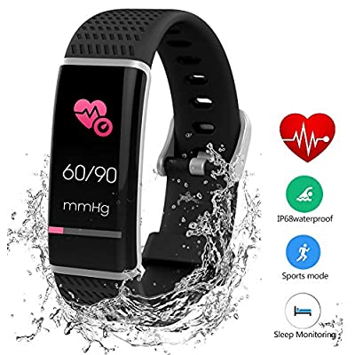 Fitness Trackers Blood Pressure, Activity Tracker Heart Rate Monitor Waterproof GPS Tracker Wristband Bracelet for Women Kids Men Unisex for Shower Swimming Step Calorie Distance Tracker Call SMS SNS from REDGO