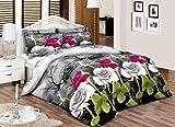 JaaZPurpleGreyRose _ _ _ _ _ Buy todos los tamaños de percal calidad impresa juego de ropa de cama funda de edredón con funda de almohada (S), con (y/o) cortinas a juego., algodón algodón mixto, multicolor, matrimonio grande