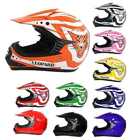 Leopard MIX Kids Motocross Motorbike MX Helmet ATV Dirt Bike BMX Off Road Helmet X17 Orange L (53-54cm)