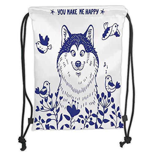 Icndpshorts Drawstring Backpacks Bags,Alaskan Malamute,Happy Doggy in Blossoming Spring Field with Singing Birds and Flowers Decorative,Blue White Soft Satin,5 Liter Capacity,Adjustable String -