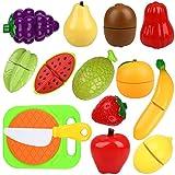 Peradix Giocattolo Taglio per Bambini Verdura Frutta Finta da Tagliare 14 Pezzi (Frutta)