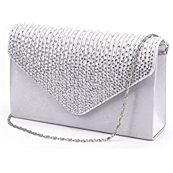 Clorislove Satin Strass Damen Clutch Abendtasche Handtasche Umhaengetasche (Silber)