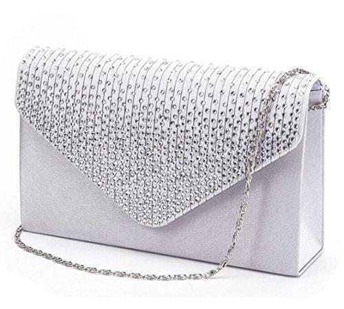 Clorislove Satin Strass Damen Clutch Abendtasche Handtasche Umhaengetasche (Silber) (Abendtasche Satin Handtasche)