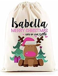 Personalised Santa Sacks (Reindeer Pink Girl)