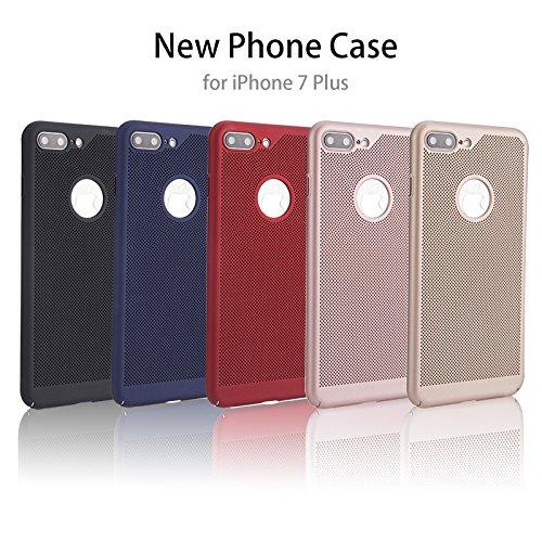 Meimeiwu Alta Qualità Ultra Sottile Leggera [Morbido tocco] Antiscivolo Duro PC Shell Slim Custodia Per iPhone 7 Plus - Rosso Nero