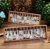 12 minibotellas de cristal a la moda, colgante de metal, botella de deseos de cristal para suvenires de boda y regalos de cumpleaños