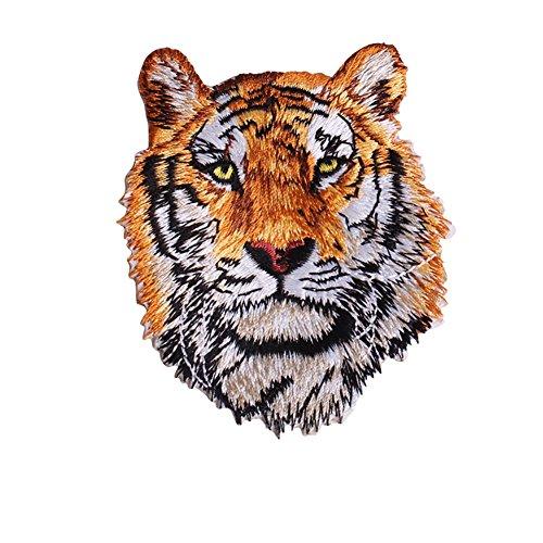 Parche bordado león tigre planchar coser, ropa, vaqueros