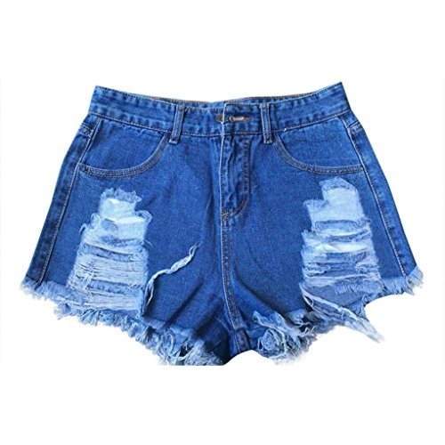 TraumZimmer Frauen Sommer High Waisted Denim Shorts Ripped Holes Jeans Hot Pants (EU=34, Blau) (Shorts High-waisted Jean)
