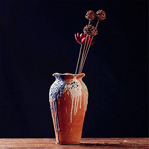 NOHOPE Retro manuelle Keramik Vasen Emulation Blumenkübel Home Decor grobe Keramik Blumentopf Ornamente,B/13*28cm