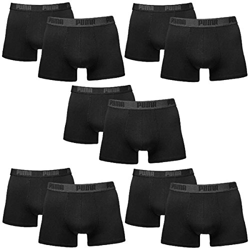 PUMA Herren Basic Boxer Boxershort Unterhose 10er Pack (M, Schwarz)