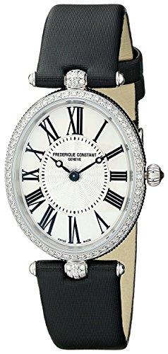 Frederique Constant Women's Art Deco Black Satin Band Steel Case Quartz Silver-Tone Dial Watch 200MPW2VD6