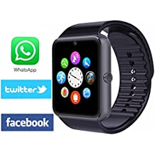 Viwel Reloj Inteligente Smart Watch soporte Facebook Twitter Teléfono Inteligente Pulsera 1.54 Pantalla Táctil Cámara para Android Samsung HTC LG Huawei Xiaomi Reloj Deportivos SIM/TF Negro