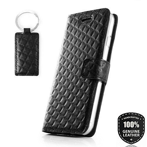 SURAZO Pik Mat - Premium Vintage Ledertasche Schutzhülle Wallet Case aus Echtesleder Andere Leder mit Kreditkarten/Notizen Fachern Farbe Schwarz Pik Kollektion für Apple iPhone X/XS (5,80 Zoll) Pma-halterungen