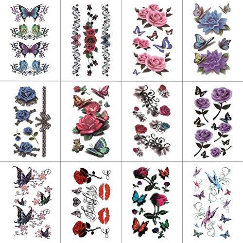 Kostüm Xviii Homme - MRKAL 18 Teile / los Papillon Fleur Autocollant De Tatouage Temporaire Pour Femmes Hommes Body Art Tätowierung 9,8X6 cm