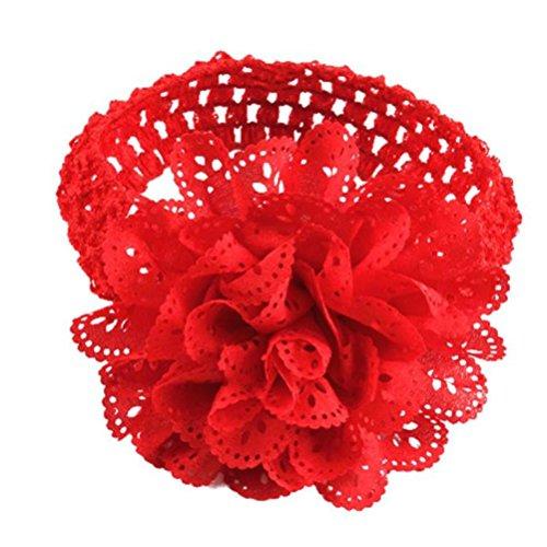 K-youth® bebé cinta para el pelo infantil diademas para niñas diademas bebé recién nacido y bebés flores del pelo de la venda elástico bebé turbante pelo niñas diadema (Rojo)