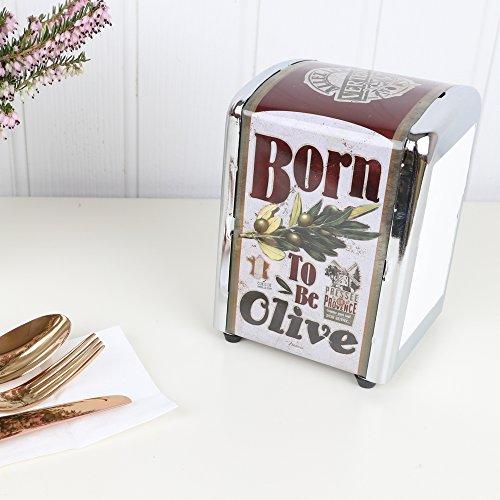 Retro estilo francés metal Dispensador de servilletas Holder Store–perfecto para una Retro Diner–15cm
