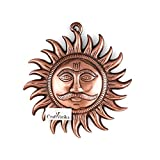 Collectible India Hindu Idol God Sun Metal Wall Hanging Sculpture | Lord Surya Dev Home Decor Lucky Feng Shui Decorative Wall Art