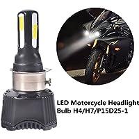 FEZZ Bombilla LED de Faro Motocicletas 40W H4 H6 S2 BA20D P15D25-1 Luz Delantera con Ventilador Refrigeración 4 LED Hi Lo Haz 4600Lm 6000k Blanco Moto