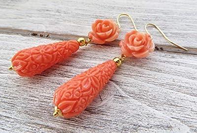 Boucles d'oreilles avec fleurs et gouttes corail rose, boucles d'oreilles romantiques, bijoux pour femme, bijoux fantaisie, cadeau pour elle