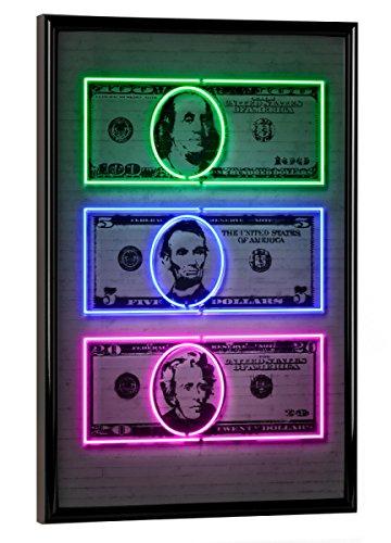 artboxONE Poster mit Rahmen 30x20 cm Dollars von Künstler Octavian Mielu - Poster mit Kunststoffrahmen