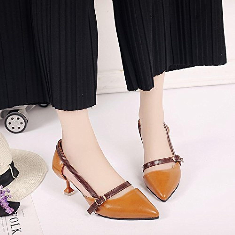 LGK&FA Sandalias De Tacón Alto De Todos Coincide Muy Bien Con Los Zapatos De Primavera Y Verano 36 Marrón Oscuro