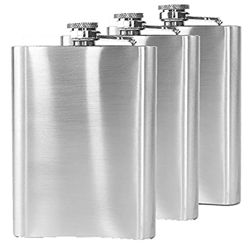 Glamouric Portable Pocket 8 oz #304 Stainless Steel Hip Flask Liquor Wine Drinking for Storing Whiskey/Alcohol (Set of 3)