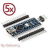 AZDelivery ⭐⭐⭐⭐⭐ 5 x Nano V3.0 mit Atmega328 CH340 mit gratis eBook! 100% Arduino kompatibel mit Nano V3