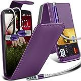 ( Purple ) LG G2 D802 Premium Faux Kredit / Debit-Karten-Slot Leder Flip Case Hülle & LCD-Display Schutzfolie & Aluminium In-Ear-Ohrhörer Stereo-Ohrhörer mit Hands Free Mic & On-Off-Taste Einbau by Fone-Case