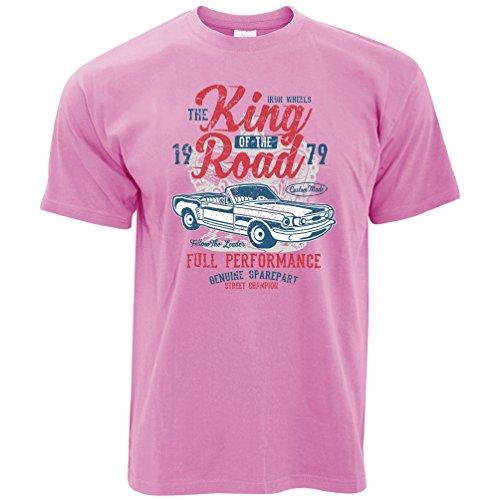 Jahrgang Herren T-Shirt King of The Road Car Racing 1979 Motor Distressed Entwurf Pixel Pink Large (Entwurf-motor)