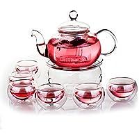 Juego de té de Beddingleer con infusor, tetera, calentador y 6tazas de té con pared doble, de 600ml, transparentes, con diseño elegante, resistentes al calor.
