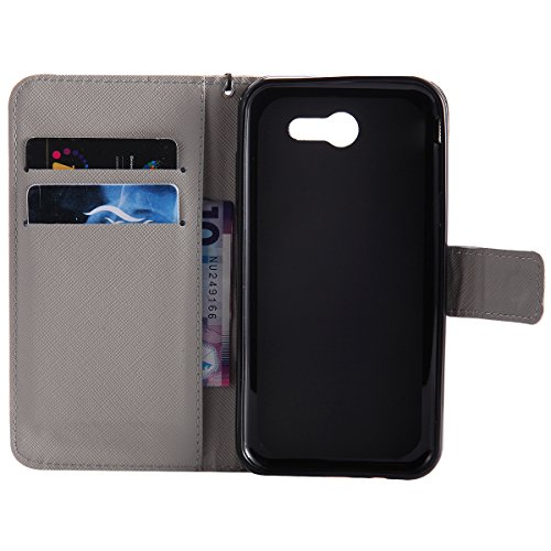 Etsue Samsung Galaxy J3 2017 Wallet Case, Samsung Galaxy J3 2017 Leather Case with Strap, Colorful Cute Design Pattern Wallet Flip Case Cover Card Holders with Stand Book Type Magnetic Closure for Samsung Galaxy J3 2017+Blue Stylus Pen+Bling Glitter Diamond Dust Plug(Colors Random)-Skull