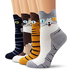Ambielly Cotton Socks Thermal Socks Adult Unisex Socks [Set/4Pairs](4 Cats), One Size, 4 Cats