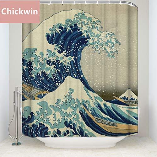 Chickwin Tende da Doccia 3D Digitale Stampato, Poliestere Resistente Tessuto Lavabile Impermeabile Antimuffa Tenda della Vasca da Bagno con 12 Ganci