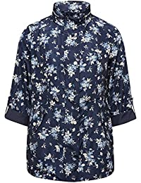 M&Co Ladies Petite Navy Three Quarter Length Sleeve Floral Print Shower Resistant Mac