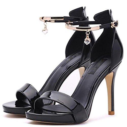 W&LM Signorina Tacchi alti sandali Scarpe di bocca di pesce Cinghia Tacchi alti Ok Scarpa Black