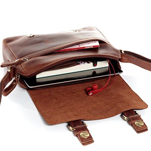 SID & VAIN® Borsa messenger vera pelle vintage YALE borsello tracolla borsa a spalla Università Scuola Ufficio Lavoro Business uomo donna cuoio marrone