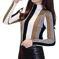 Mujer Jerseis Raya Cuello Alto Color De Empalme Suéter De Punto Ocasional Manga Larga Pullover Tops