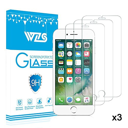 iPhone 8 / 7 / 6s / 6 Screen Protector, WZS® [3-Pack] Premium Tempered Glass Screen Protector for Apple iPhone 6 / 6s / 7 / 8 (4.7 inch) 9H Hardness and 3D Touch Compatible, Anti Fingerprint, No Bubbles