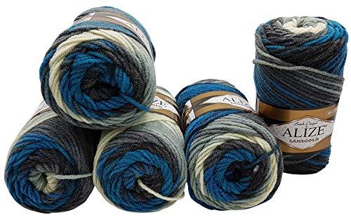 Alize Lanagold Batik mit Farbverlauf 5 x 100g Strickwolle mit 49% Wolle 500 Gramm Wolle Mehrfarbig (blau grau weiß 4467) - Grau Wolle