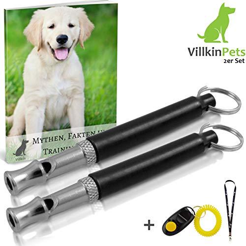 Villkin 2X Hundepfeife +Bonus: Hunde-clicker, Schlüsselband und E-Book - Kontrolle erlangen und Bellen stoppen - Schwarz/Silber mit Einstellbarer Frequenz -