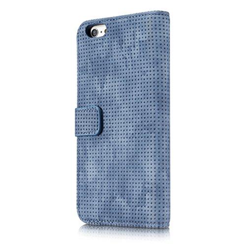 GHC Cases & Covers, Für iPhone 8 & 7, Retro Style Mesh Atmungsaktives Horizontal Flip Ledertasche mit Kartenfach & Halter & Geldbörse ( Color : Black ) Blue
