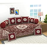 Luxury Crafts 500 TC Cotton Diwan Set, 1 Single bedsheet (90x 54 inches), 5 Cushion Covers (16 x 16 inches) and 2 Bolster Covers (31 x 16 inches) (Maroon)