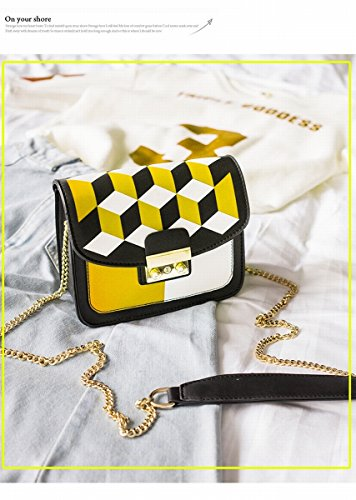 Weibliches paket Einzelne Schulter Schräge Kollision farbkette kleines paket Gelb