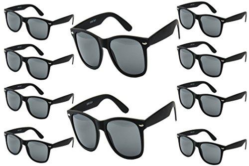 Ciffre 10 er Set EL-Sunprotect® Sonnenbrille Nerdbrille Brille Nerd Matt Gummiert Schwarz