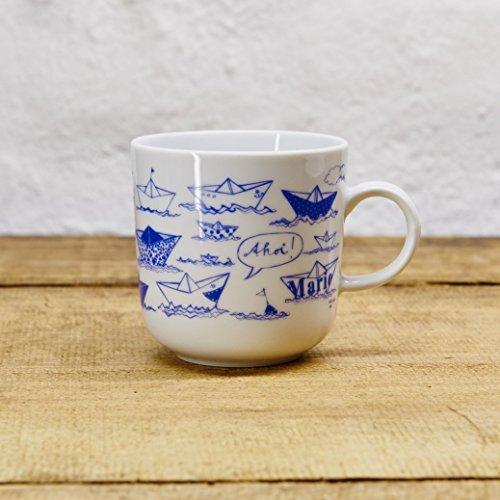 Kaffeebecher - 100% Handmade von Ahoi Marie - Motiv Papierschiffchen - Maritime Porzellan-Tasse original aus dem Norden (Keramik Navy)